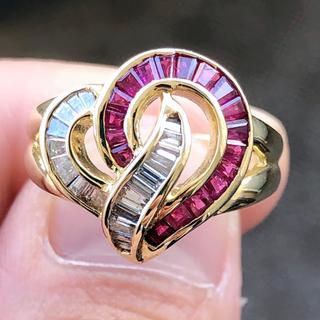 ブリンブリン! ルビーリング ダイヤリング 指輪 k18yg イエローゴールド