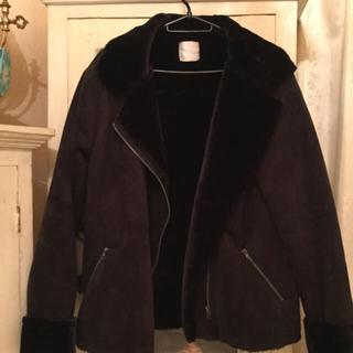 ウィゴー(WEGO)のDISPARK/フェイクムートン ライダースジャケット ブラック(ライダースジャケット)