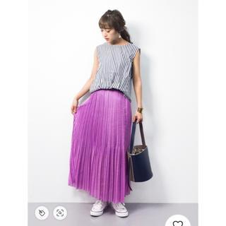 IENA - IENA ボイルプリーツスカート ロングスカート パープル ピンク