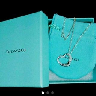 Tiffany & Co. - (美品)ティファニー オープンハート(大)ネックレス☆保存袋と保存箱付き