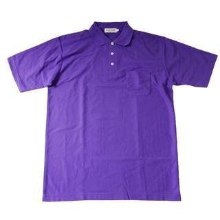 半袖ポロシャツ 胸ポケット付き パープル(ラベンダー)LLサイズ 鹿の子(ポロシャツ)