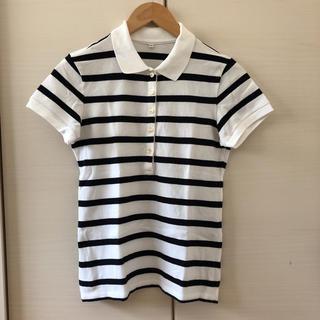 MUJI (無印良品) - MUJI 無印良品 フレンチスリーブ ボーダー ポロシャツ 未使用品
