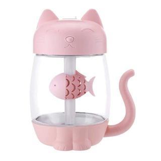 【猫加湿器/ピンク】ファン&テーブルランプLED家庭用