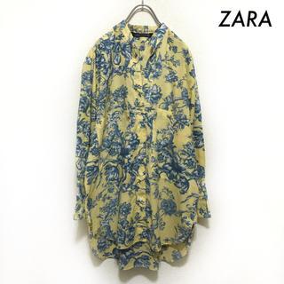 ZARA - ZARA ザラ★花柄 長袖シャツ ロング丈 イエロー 黄色 オーバーサイズ
