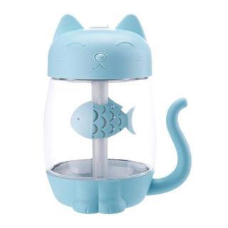 【猫加湿器/ブルー】ファン&テーブルランプLED家庭用