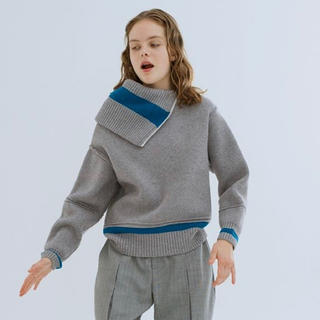 JOHN LAWRENCE SULLIVAN - 【soduk】Lined flipover knit sweater 18aw