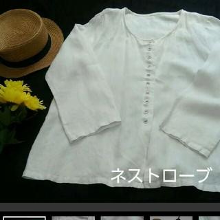ネストローブ(nest Robe)のネストローブ⭐リネン100%⭐シンプル前開きトップス⭐ホワイト(カットソー(長袖/七分))