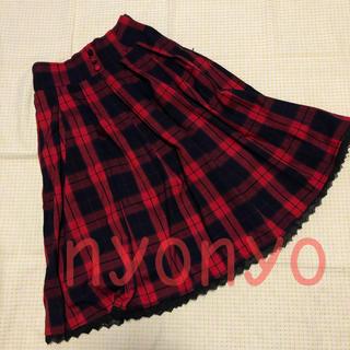 ハニーシナモン(Honey Cinnamon)のハニーシナモン チェックスカート 赤 チェック(ひざ丈スカート)
