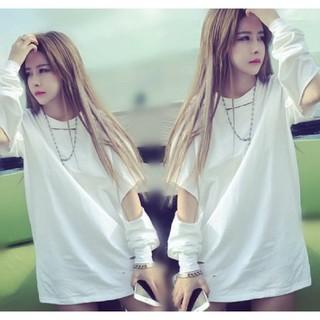 Lサイズ ダメージトップス Tシャツ ホワイト(Tシャツ(長袖/七分))