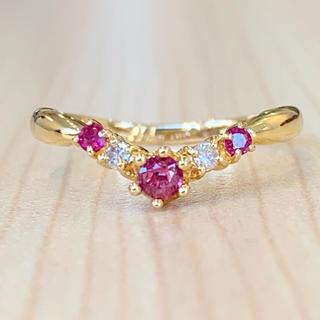 ⭐️V字⭐️重ね付けにオススメ❣️ルビー!ダイヤ K18 18金 リング 指輪