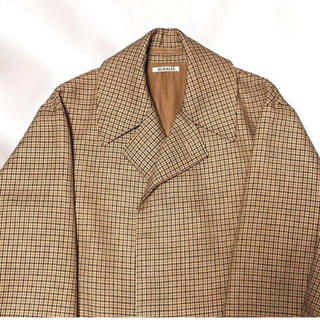 auralee DOUBLE FACE CHECK LONG COAT