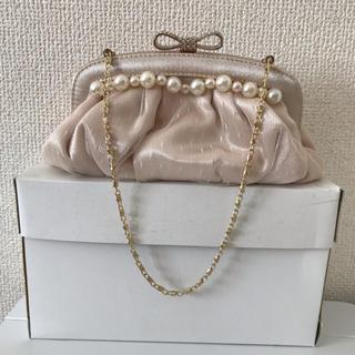 エメ(AIMER)のAIMER エメ パーティバッグ 箱付き 結婚式 ピンクベージュ(クラッチバッグ)