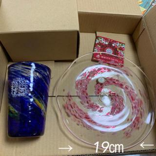 琉球グラス &お皿 セット 新品
