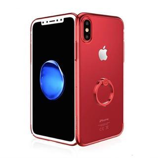 レッド iPhoneX 背面クリア リング付き ハードケース