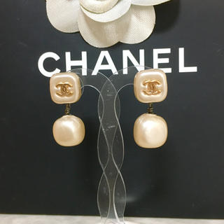 CHANEL - 正規品 シャネル ピアス パール ココマーク コンビ スイング 金 スクエア 銀