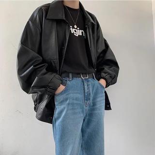 ボックスシルエット レザージャケット ライダースジャケット 韓国ファッション