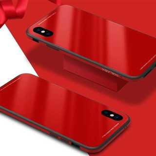 iPhoneXS/X 背面ガラス ケース レッド 強化ガラス