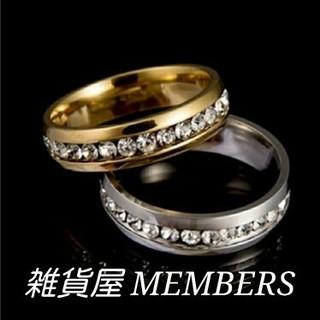 送料無19号イエローゴールドスーパーCZダイヤステンレスフルエタニティリング指輪(リング(指輪))
