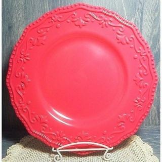 フェリシモ(FELISSIMO)のメラミン フラワーレリーフ 大皿プレート チェリーピンク(食器)
