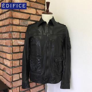 EDIFICE - 定価6.2万/良品 エディフィス レザージャケット/ラムレザー 38 ブラック系