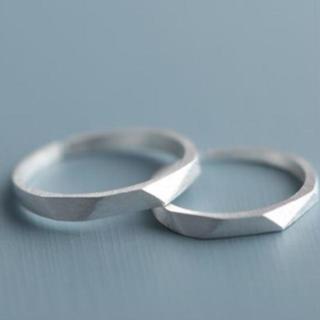 【ラッピング袋付】 ペアリング メンズ レディース シルバー リング 指輪 新品(リング(指輪))