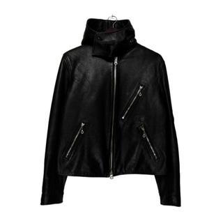 Yohji Yamamoto - ヨウジヤマモト プールオム■18AWフード付き袖ロゴレザーライダースジャケット