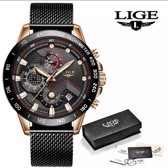 【新品・未使用】LIGE 腕時計 定価2万3千円ROSE GOLD BLACKの通販