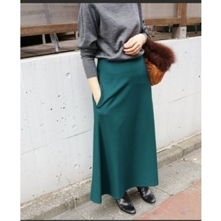 IENA - IENA トラペーズロングスカート グリーン 緑
