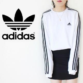 adidas - 【激かわ♡】白✖黒 adidas 3ストライプ ロゴ刺繍 ジャージ ロンT 白