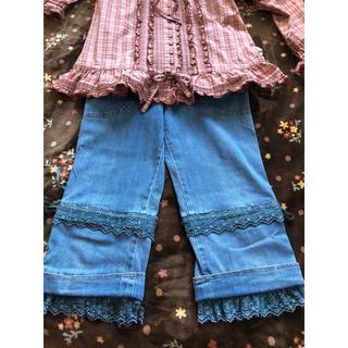ピンクハウス(PINK HOUSE)のピンクハウス♡裾周りにバラ🌹レース付半端丈デニム♡(デニム/ジーンズ)