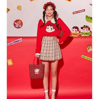 チュー(CHU XXX)のChuu 韓国ファッション ペコちゃん 長袖ニット 赤(ニット/セーター)