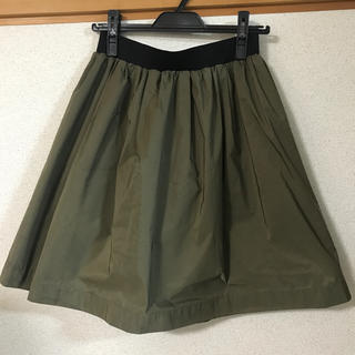 ストロベリーフィールズ(STRAWBERRY-FIELDS)の日本製 リバーシブルスカート カーキ&迷彩柄(ひざ丈スカート)
