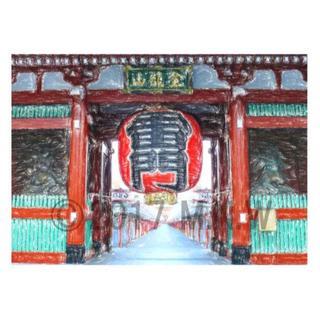 浅草寺 雷門 クレヨン画風 CG画 A4サイズ(アート/写真)