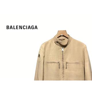 バレンシアガ(Balenciaga)のBALENCIAGA シングル ライダースジャケット / レーヨン リネン(ライダースジャケット)