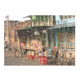 昭和の風景「駄菓子屋」クレヨン画風 CG画 A4サイズ(アート/写真)