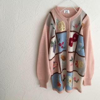 Grimoire - vintageレトロ古着お花いっぱいパッチワーク刺繍ニットカーディガン