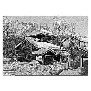 雪国の風景 版画風 CG画 A4サイズ(アート/写真)