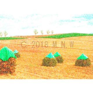 農村風景画 (田園) 色鉛筆画風 CG画 A4サイズ(アート/写真)