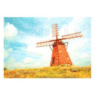 農村風景画 (風車) 色鉛筆画風 CG画 A4サイズ(アート/写真)