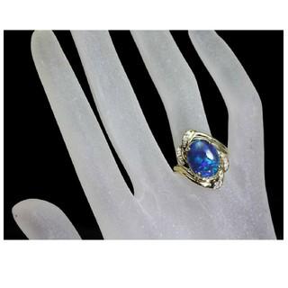 K18 ブラックオパールリング☆ダイヤモンドリング(リング(指輪))