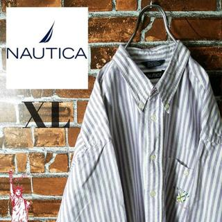 ノーティカ(NAUTICA)の【ストライプ】【ビッグサイズ】ノーティカ☆刺繍ロゴ BDシャツ(シャツ)