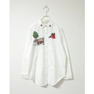 merlot - 新品 フィリル フルーツファーム刺繍長袖シャツ