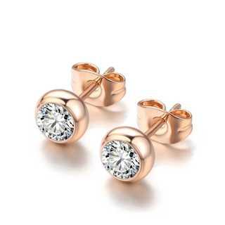 SWAROVSKI - ローズゴールド 一粒ピアス A3CZダイヤモンド 純金18Kgp