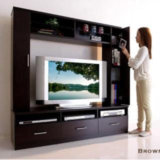最大46インチまで対応可!大型 テレビボード ブラウン(棚/ラック/タンス)