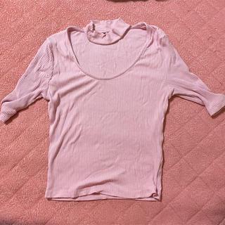 ベルシュカ(Bershka)のベルシュカ Bershka ピンク チョーカー 七分丈 タイト Tシャツ(Tシャツ(半袖/袖なし))