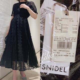 snidel - 新品タグ付き SNIDEL レースプリーツフレアワンピース ブラック 0