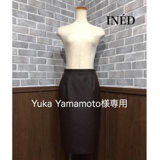 イネド(INED)のINED レザースカート(ひざ丈スカート)