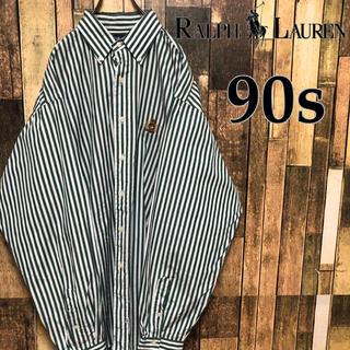 Ralph Lauren - 90s ラルフローレン エンブレムロゴ ストライプシャツ XLサイズ ゆるダボ