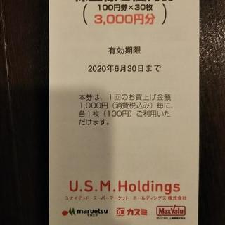 3冊 ユナイテッドスーパーマーケット 株主優待券