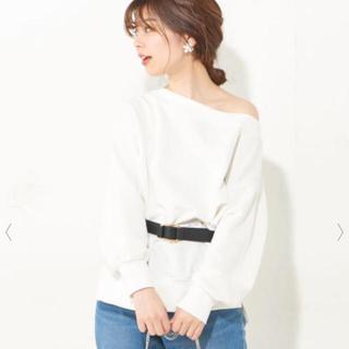 natural couture - 新品 スウェット トレーナー ワンショルダー 白 シンプル 無地 長袖